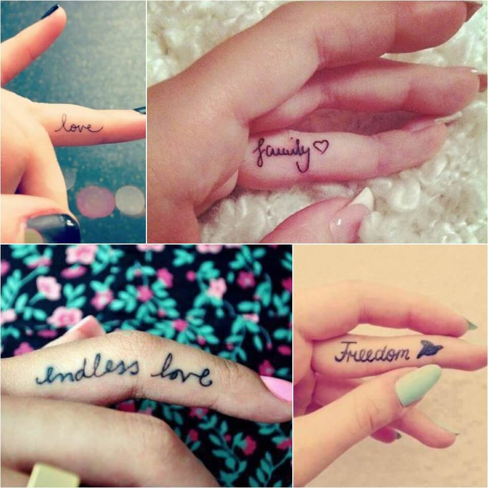 Тату надпись для девушек - Надпись на пальце женская тату