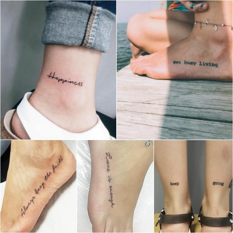 Тату надпись для девушек - Женские тату надпись на ноге
