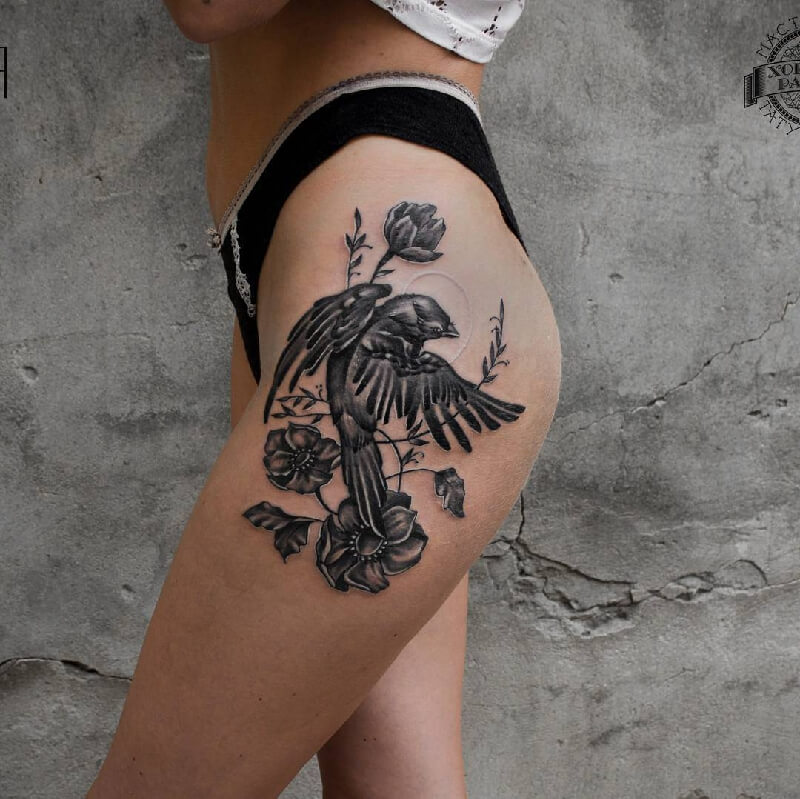 Тату птицы - Тату птицы на ноге - Татуировка птицы на ноге