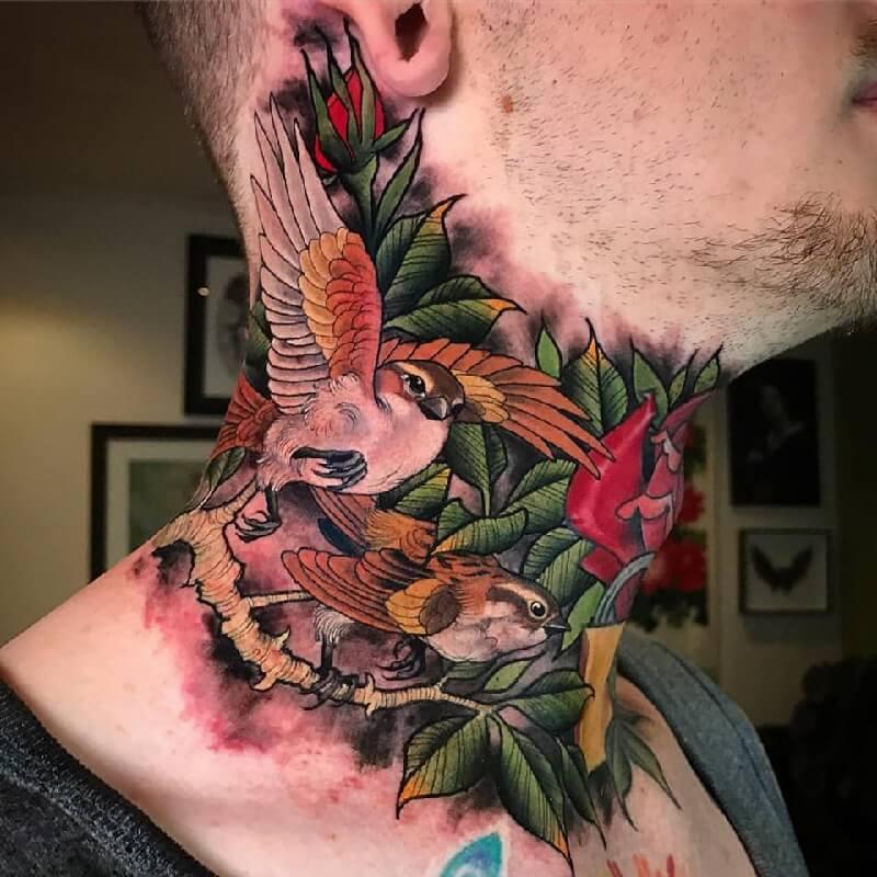 Тату птицы - Тату птицы на шее - Татуировка на шее птицы