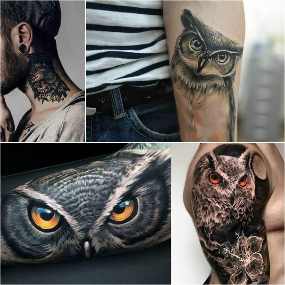 Тату птицы - Тату сова - Татуировка сова
