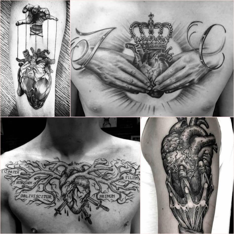 Тату сердце - Мужские тату сердце - Татуировка сердце для мужчин