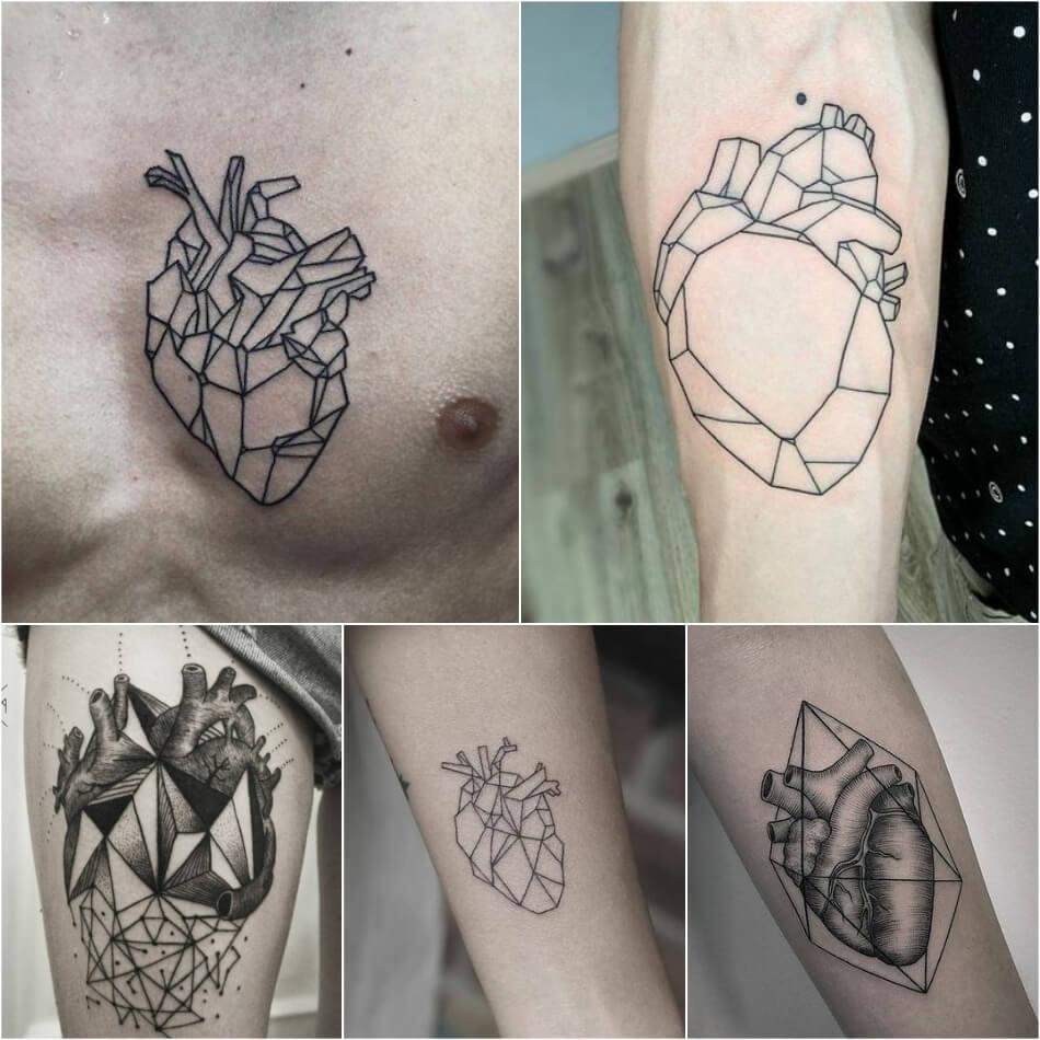 Тату сердце - Тату сердце геометрия - татуировка геометрия сердце