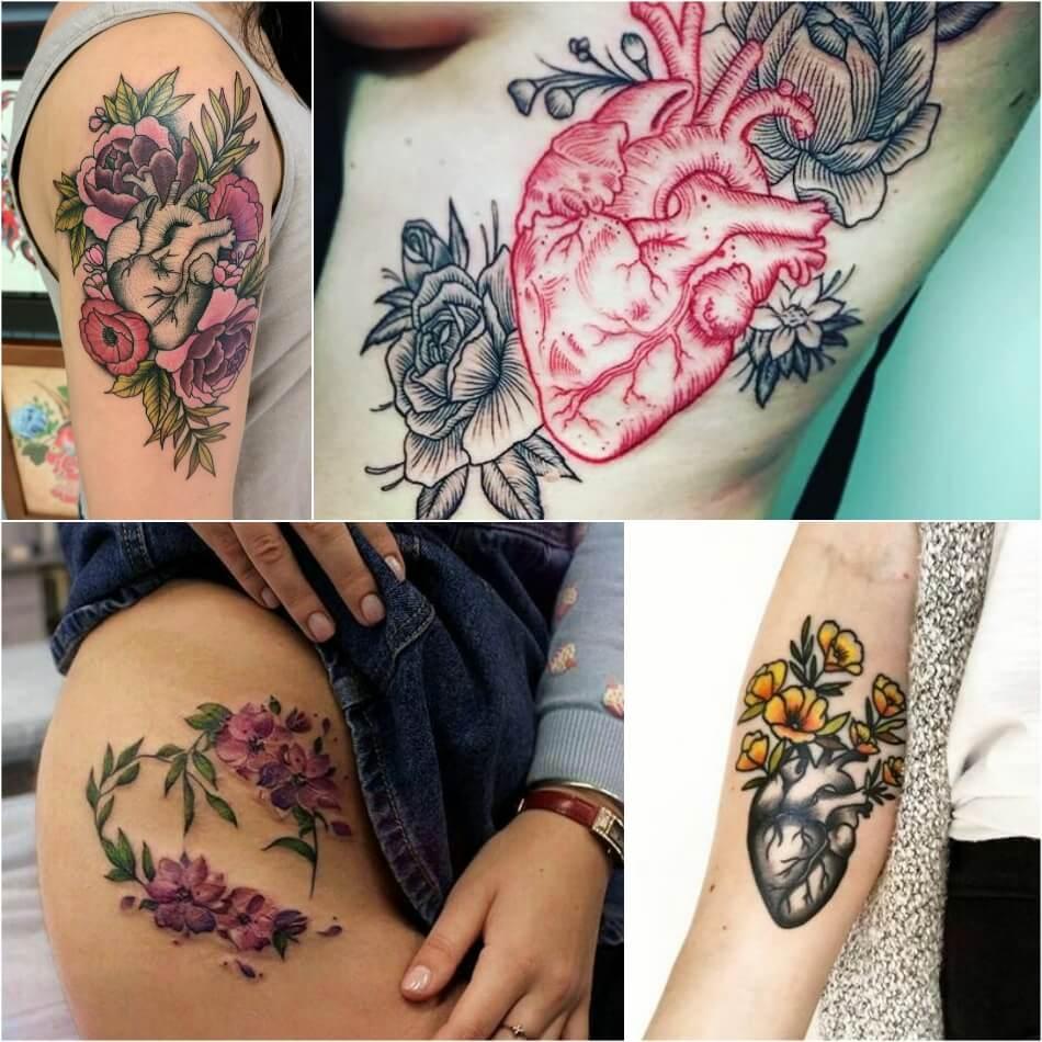 Тату сердце - Тату сердце с цветами - татуировка сердце и цветы