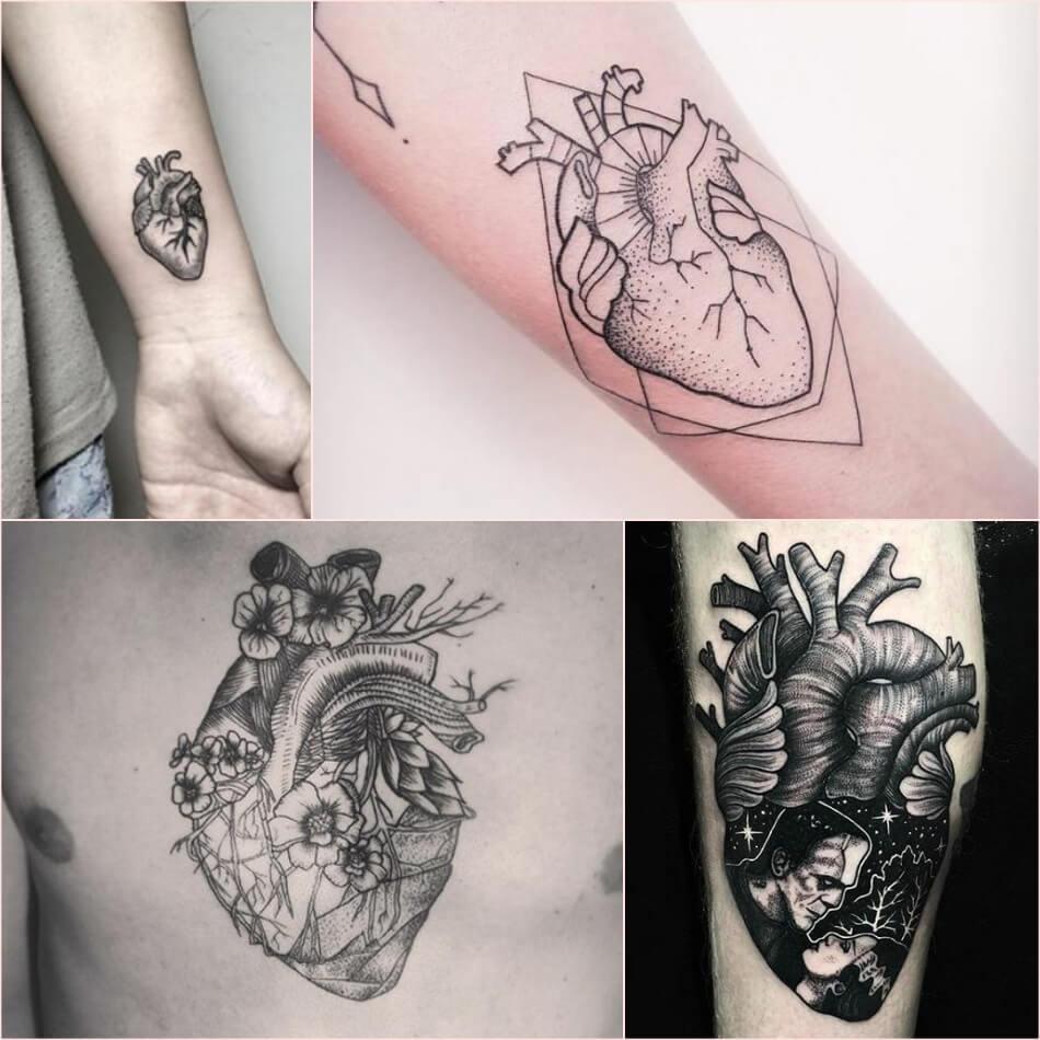 Тату сердце - черно-белые тату сердце