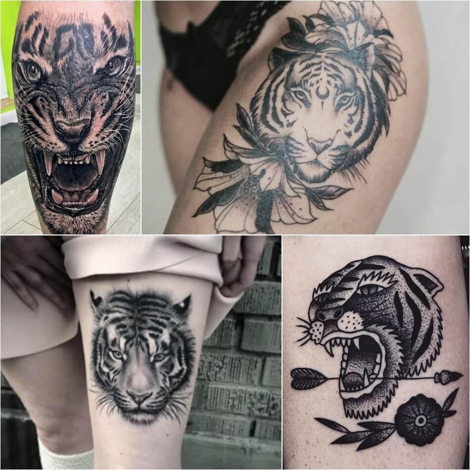 Тату тигр - Тату тигр на ноге - Татуировка тигр на ноге
