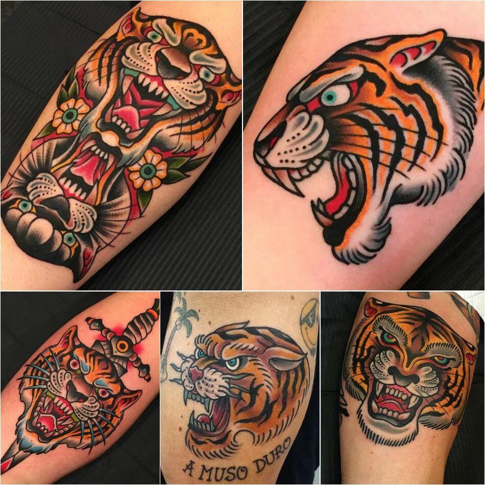 Тату тигр - Татуировка тигр олдскул - Тату тигр олскул