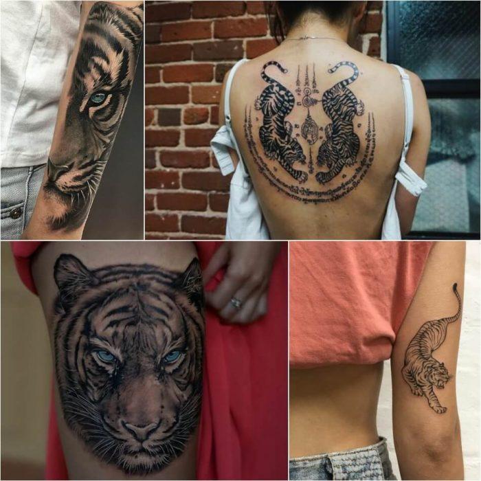 Тату тигр - Женские тату тигр - Татуировка тигр для девушек