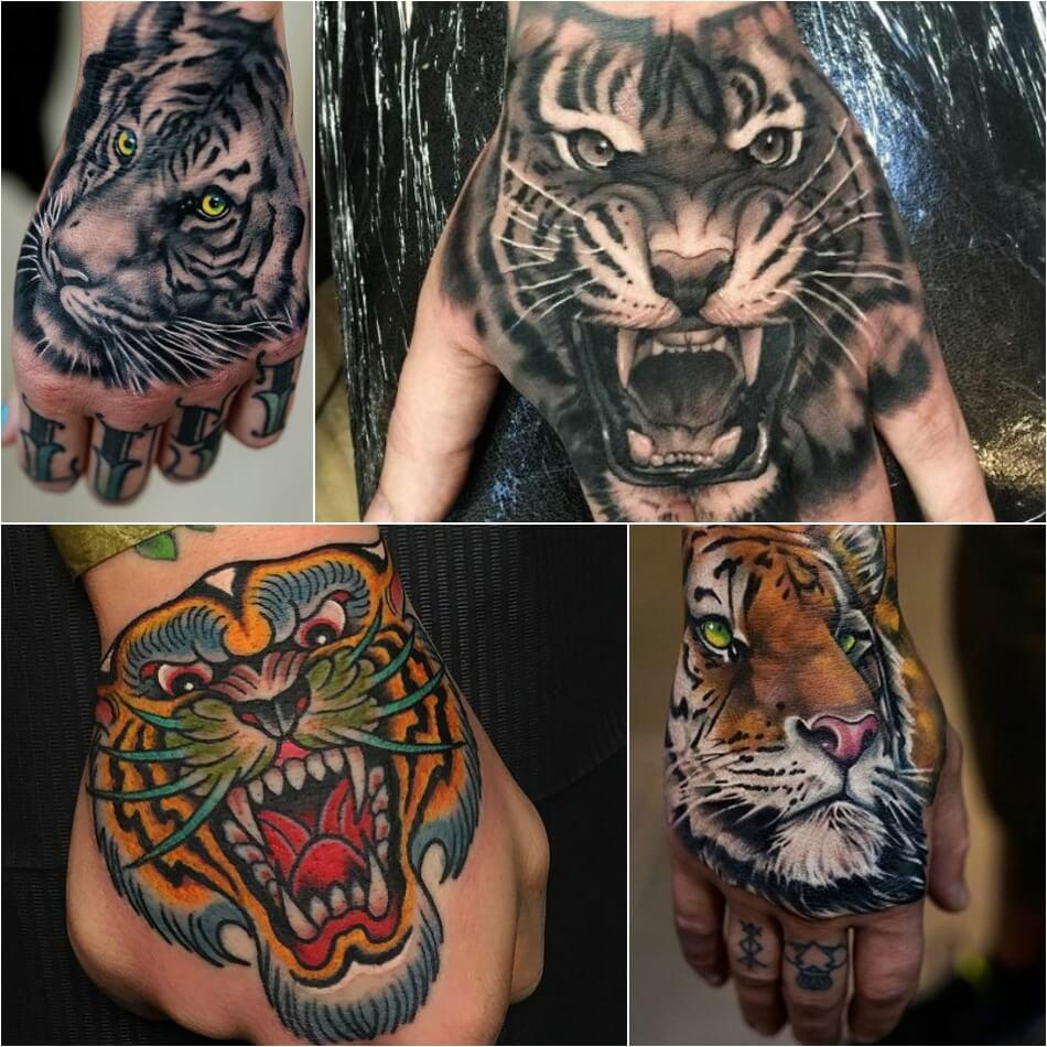 Тату тигр - тату тигр на кисти - Татуировка тигр на кисти