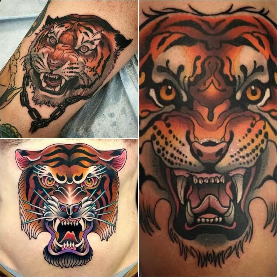 Тату тигр - тату ньюскул тигр - татуировка тигр ньюскул