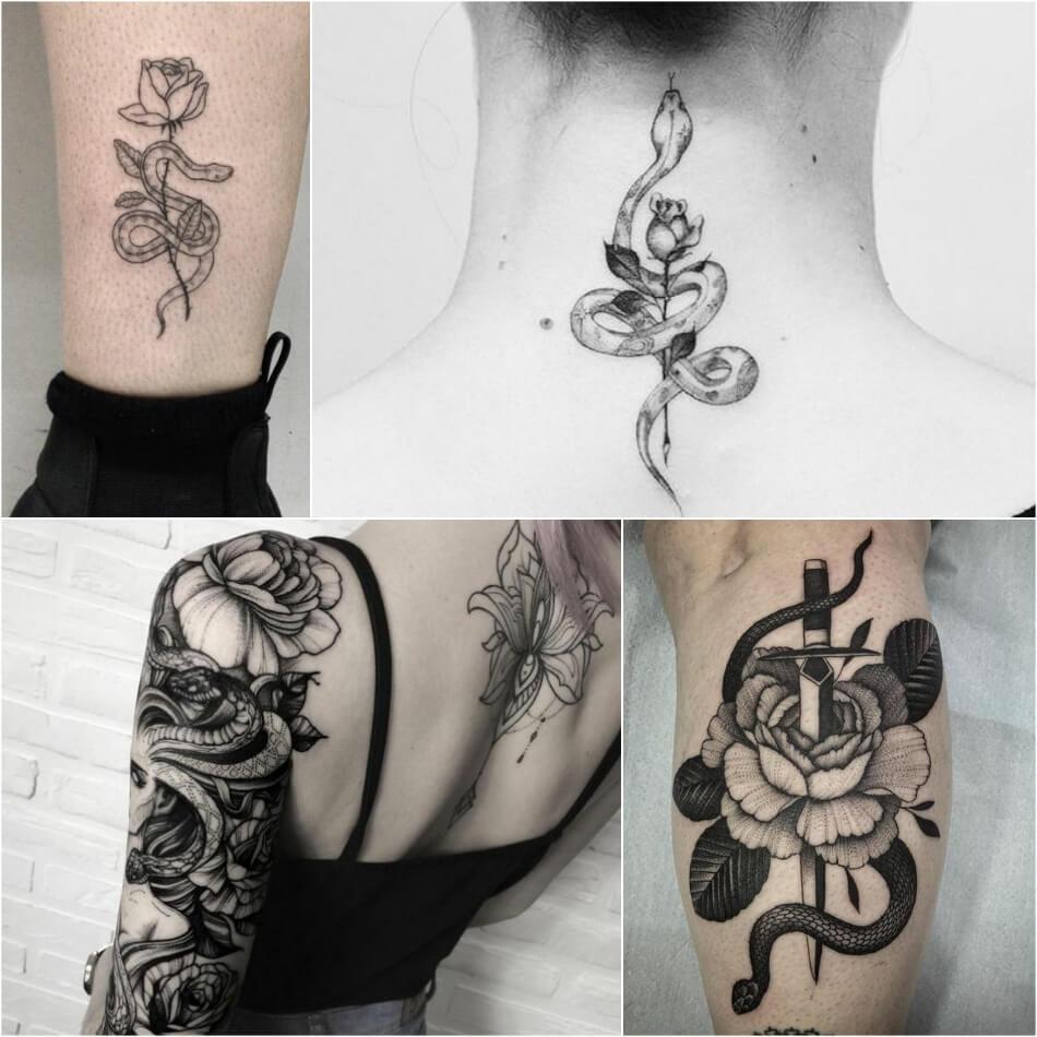 Тату змея - Тату змея и роза - Татуировка змея