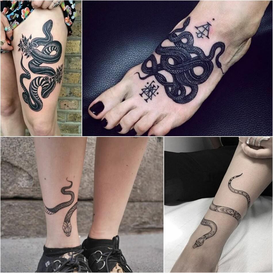 Тату змея - Тату змея на ноге - Татуировка змея
