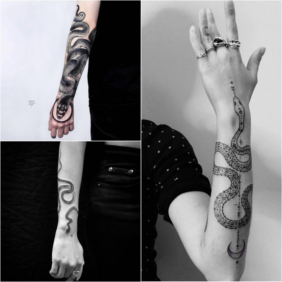 Тату змея - Татуировка змея - Тату змея вокруг руки