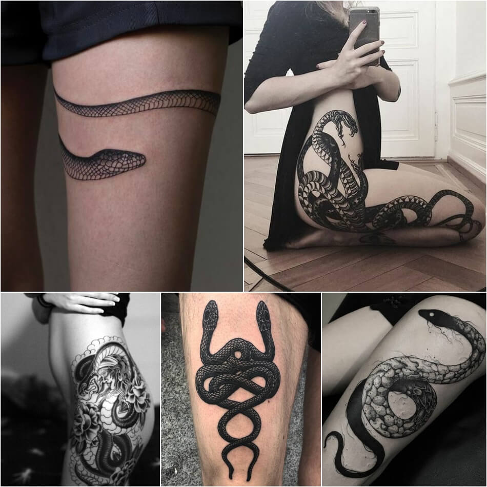 Тату змея - татуировка змея - Тату змея на бедре