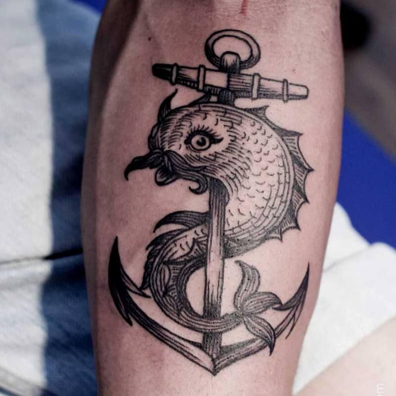 Тату якорь для мужчин - мужские тату якорь - татуировка якорь мужская черно-белая