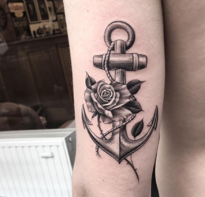 Тату якорь для мужчин - мужские тату якорь - татуировка якорь мужская - тату якорь и компас