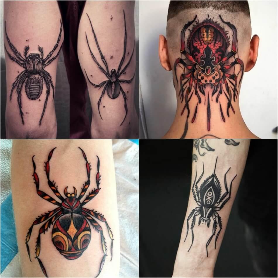 тату паук - мужские тату паук - тату паук для мужчин -татуировка паук для мужчин
