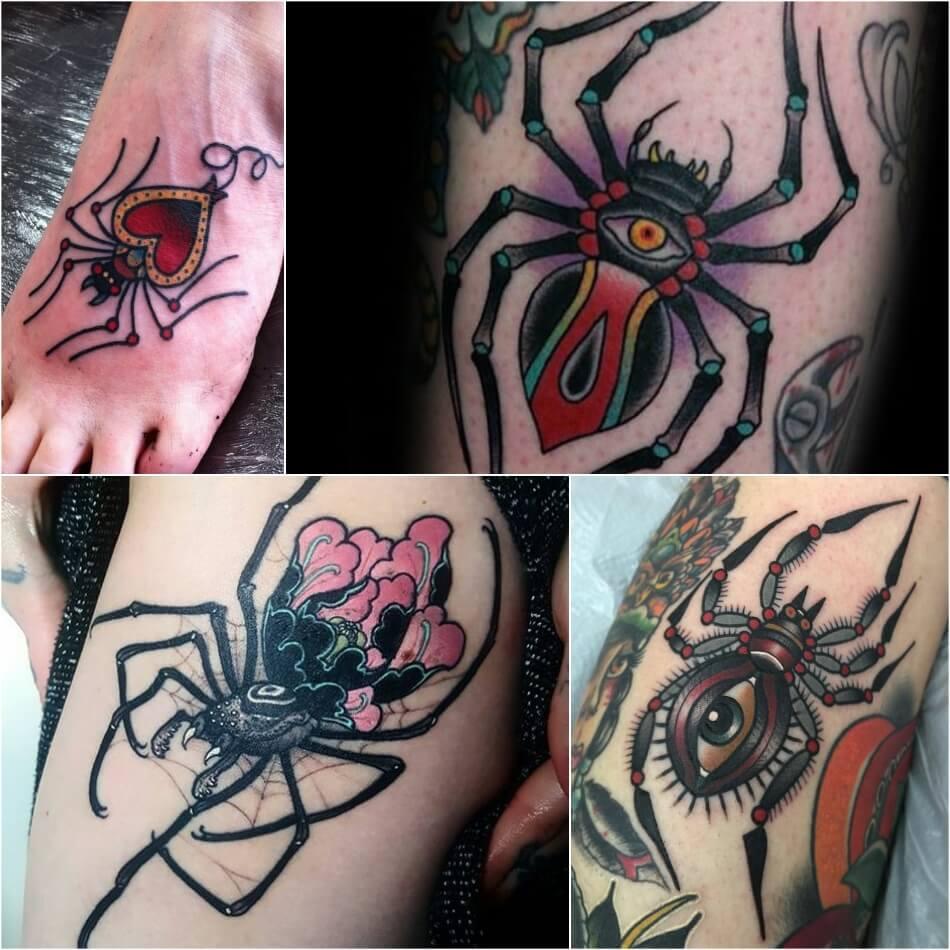 тату паук -женские тату паук - тату паук для девушек - татуировка паук фото