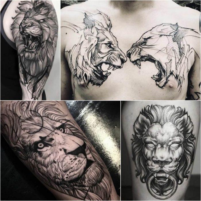 тату с животными - тату лев - татуировки с дикими животными - татуировка лев