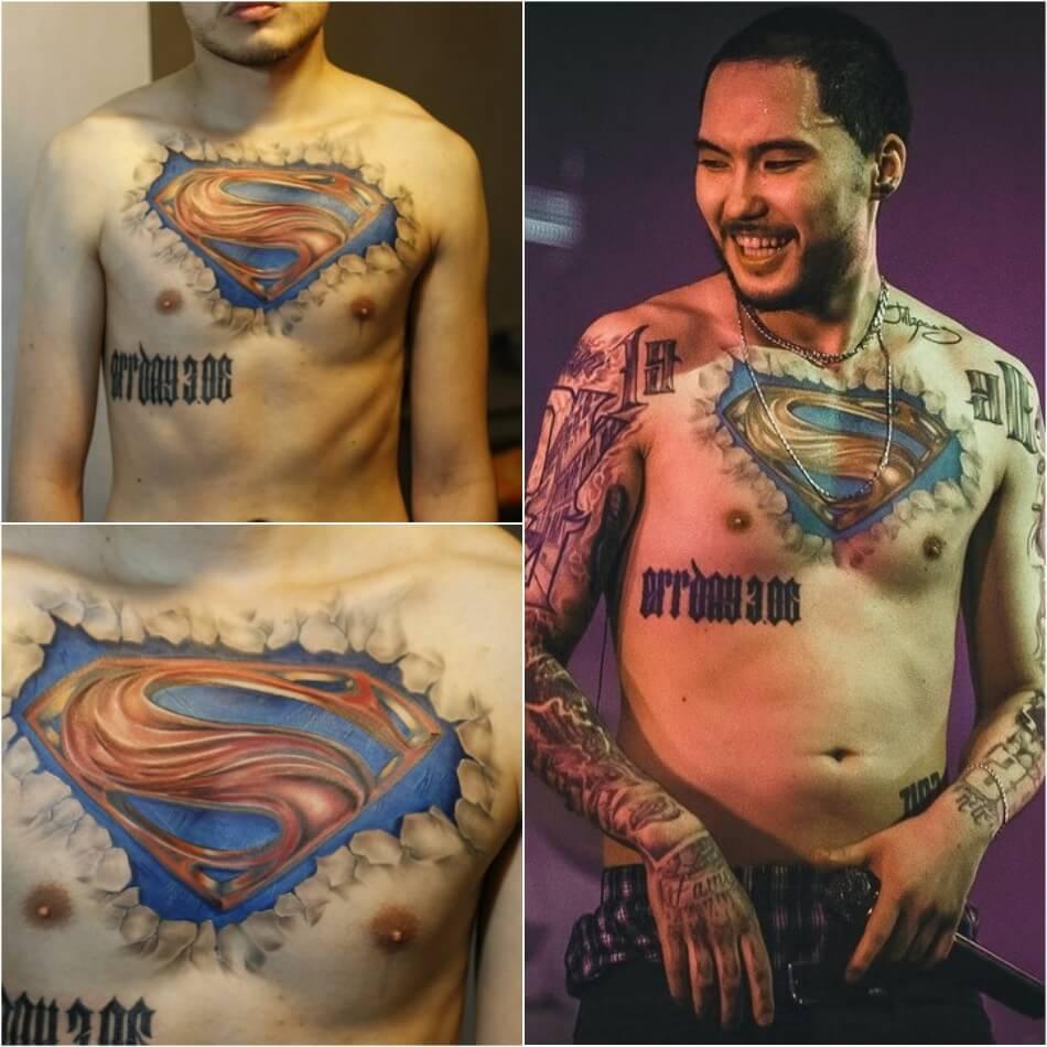 тату скриптонита - тату скриптонита на руке - тату скриптонита на ухе - татуировки скриптонита на груди