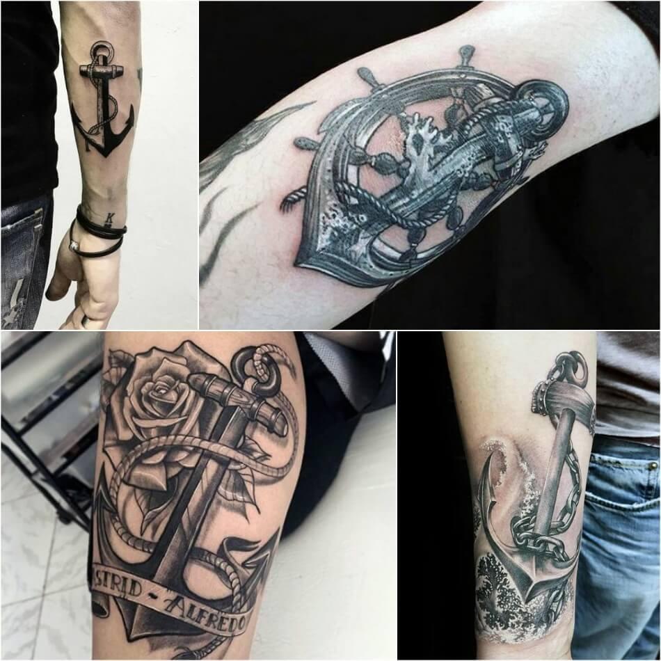 тату якорь для мужчин - мужские тату якорь - тату якорь эскизы мужские