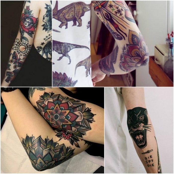 женские тату на руке -женские тату на локте - тату на локте для девушек