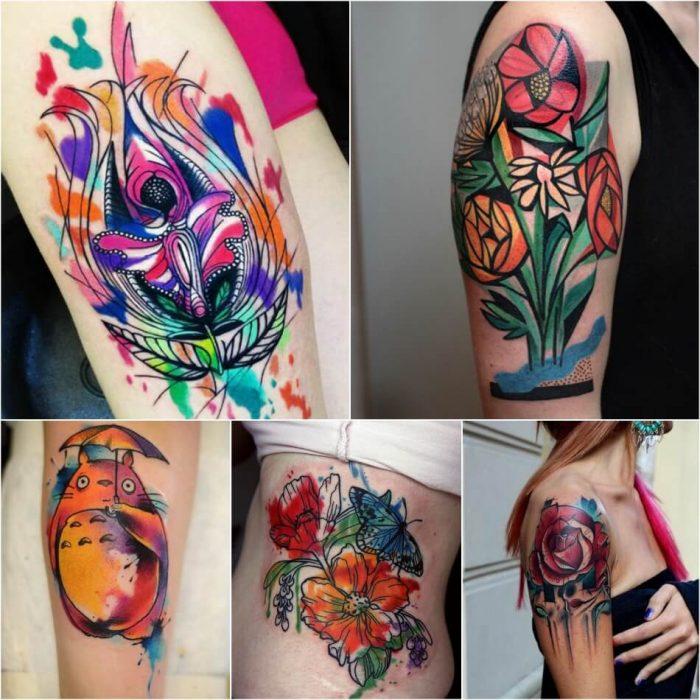 Тату Акварель для девушек - Акварельные Татуировки для Женщин - Тату акварель Эскизы