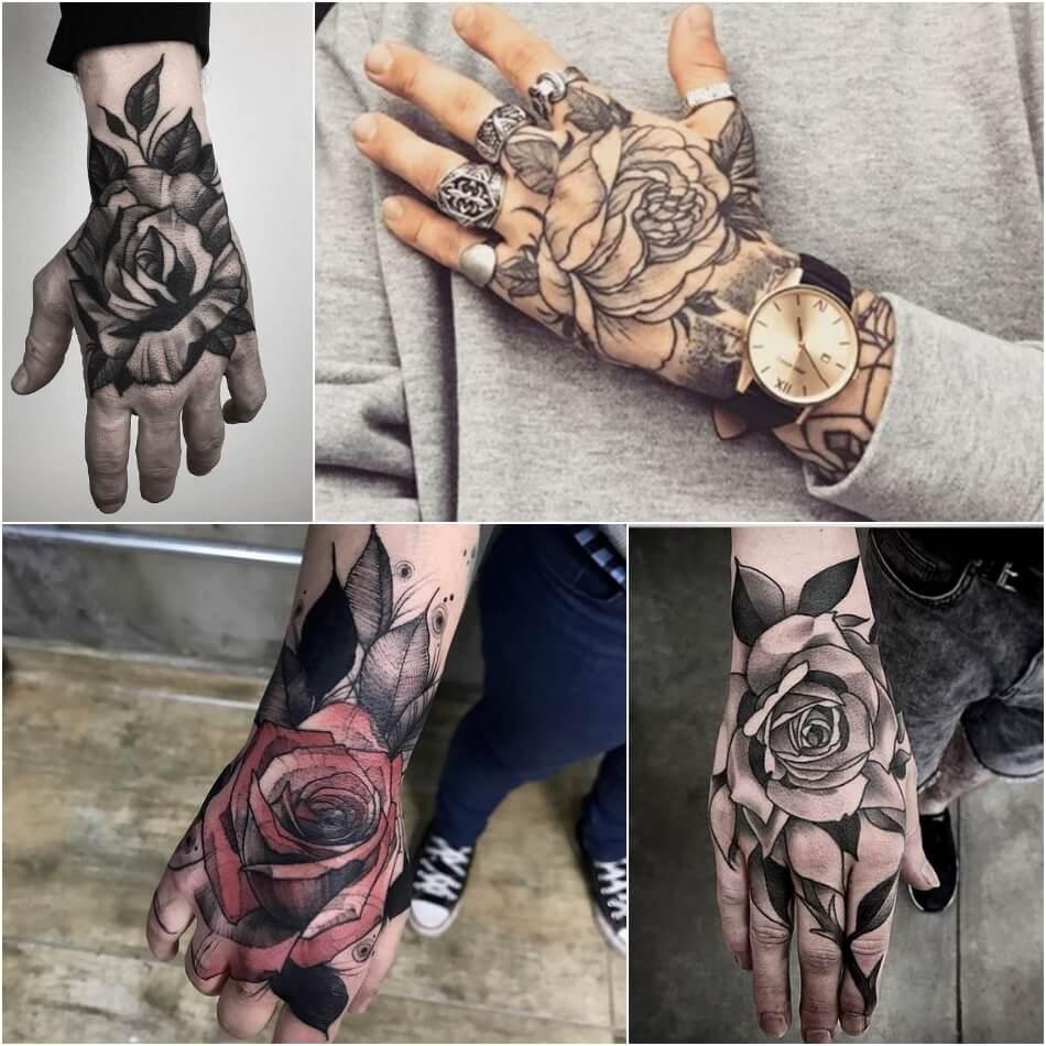 мужские тату на кисти руки - тату на кисти руки для мужчин - тату на кисти руки роза