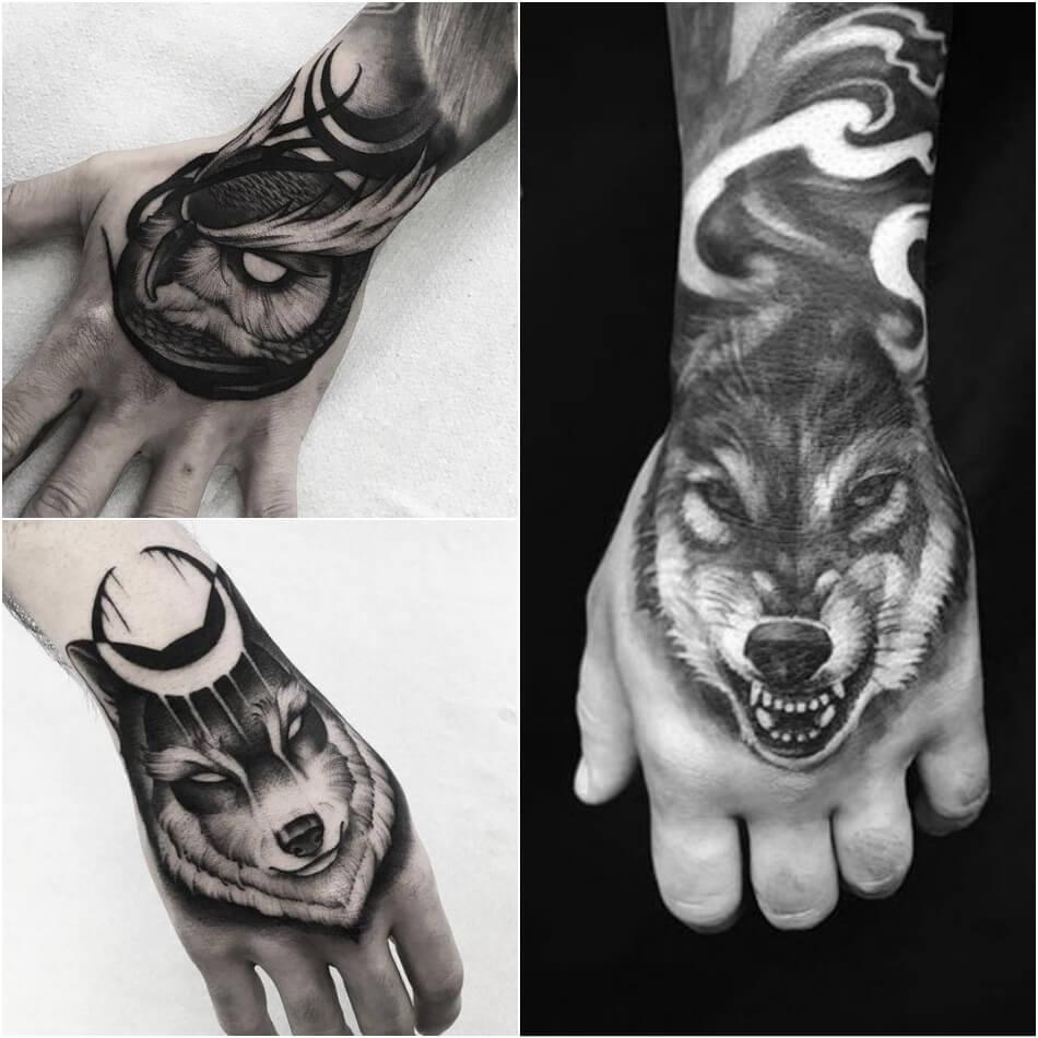 мужские тату на кисти руки - тату на кисти руки для мужчин - тату на кисти руки волк